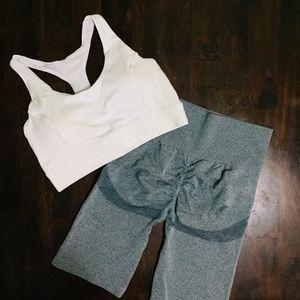 Seamless 3D Yoga Biker Shorts & Crop Top Set